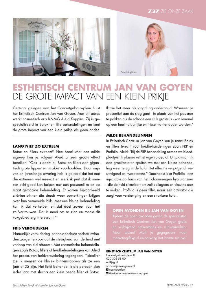 injectables bij Estetisch Centrum Jan van goyen in de media